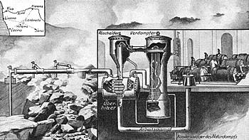 Grafik des Geothermiekaftwerks Lardarello von 1931