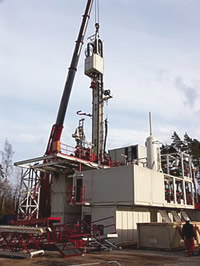 Bohrturm in Groß-Schönebeck im Bau