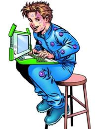Comicfigur Jame mit OLPC