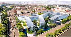 Null-Energie Bürogebäude von Skidmore Owings & Merrill  (Grafik)