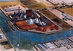 Planungszeichnung des Biomasse-Kraftwerks Cuijk