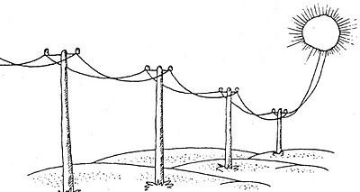 Karikatur: Stromkabel führen aus der Sonne heraus zu Strommasten