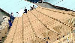 Holzgestelle der Solarmodule in Espenhain