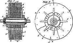 Tesla-Turbine grafik aus der Patentanmeldung von 1921