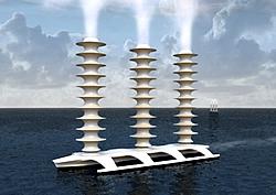 Grafik eines Schiffes mit drei Thom-Flettner-Rotoren