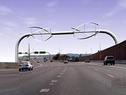 Fahrtwind-Rotoren über Autobahn