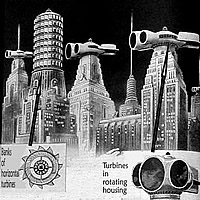 Konzept von Windturbinen auf Hochhäusern von 1933